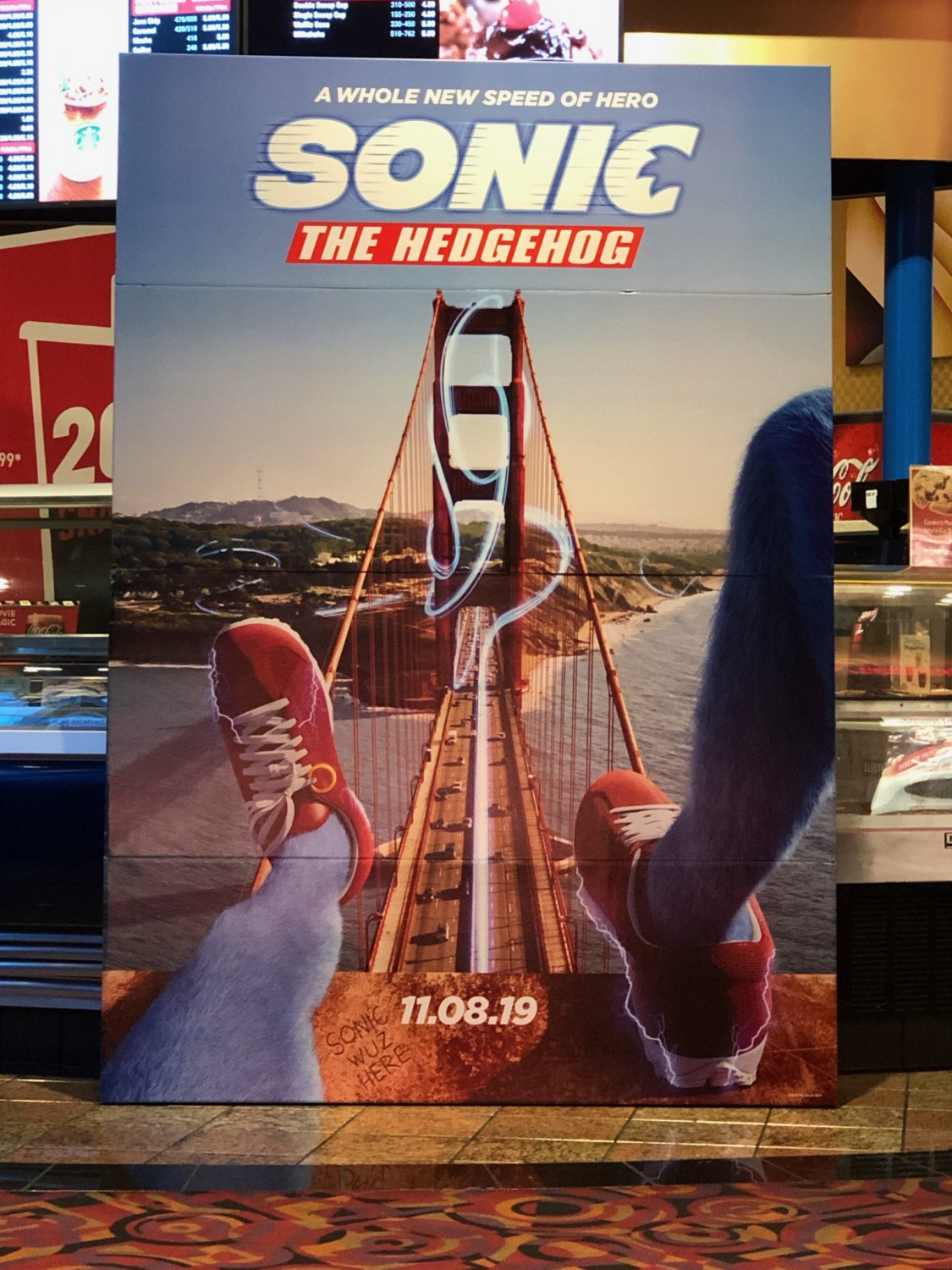 new poster for sonic the hedgehog movie apparently spotted at a