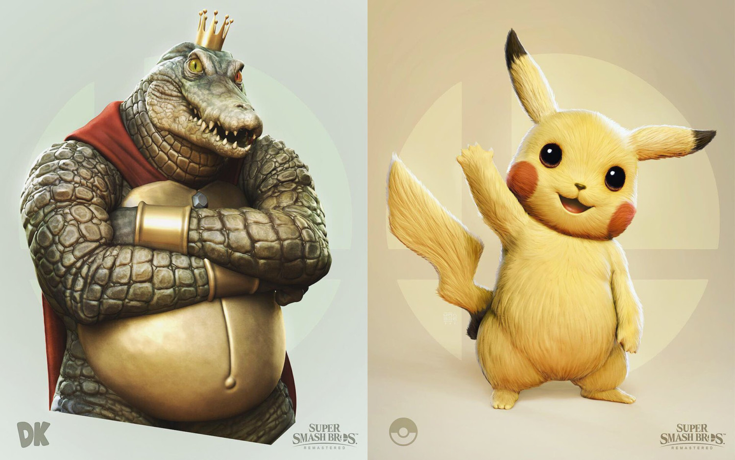God Of War Artist Returns With 'Remastered' Fan-Art Of King K. Rool & Pikachu