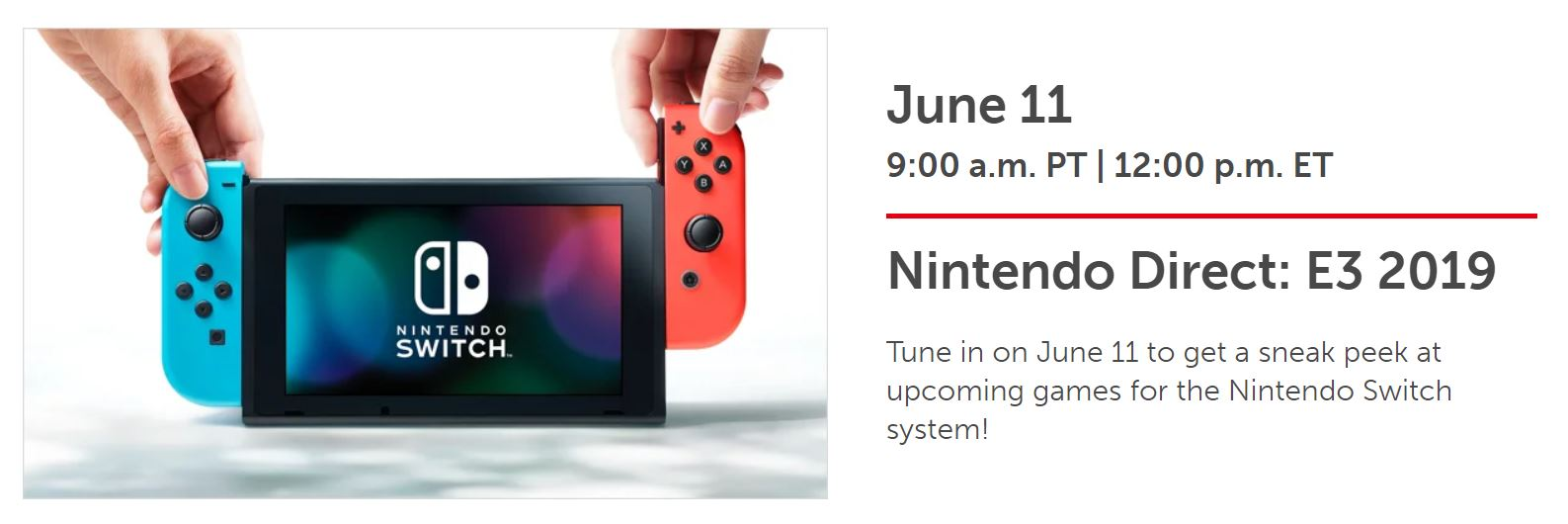 Nintendo To Hold The E3 2019 Nintendo Direct On June 11, Followed By