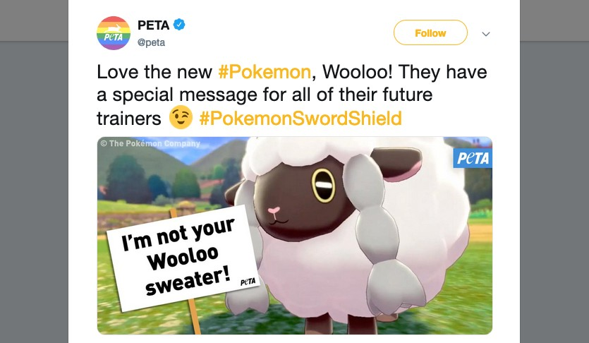 Peta Uses Wooloo To Spread Their Agenda But Gets Shot Down By Fans