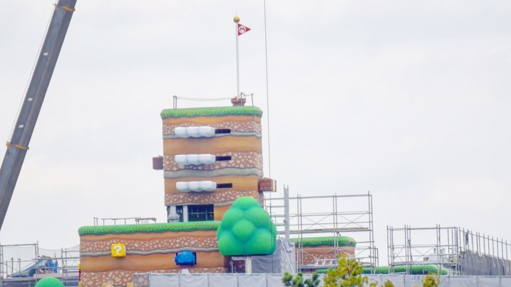 Super Nintendo World In Japan Continues To Take Shape, With Flagpole And Blocks Now Visible