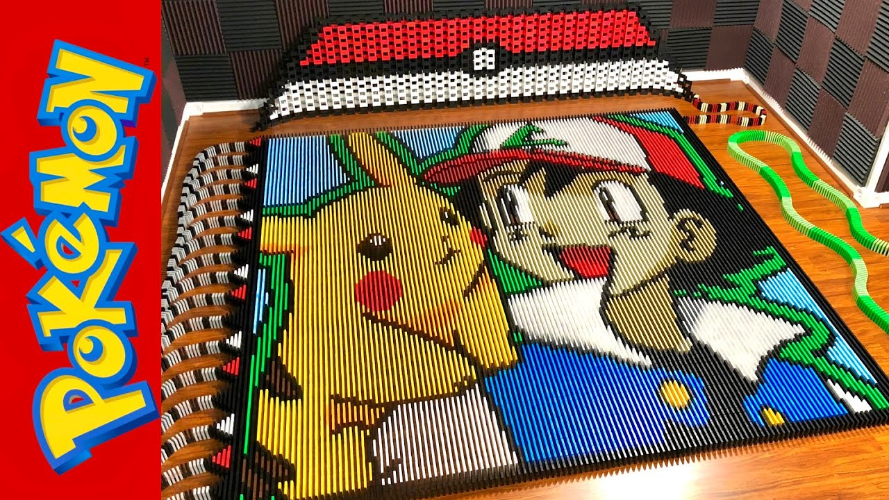 This Pokemon Tribute Featuring Ash And Pikachu Uses Over 35,000 Dominoes