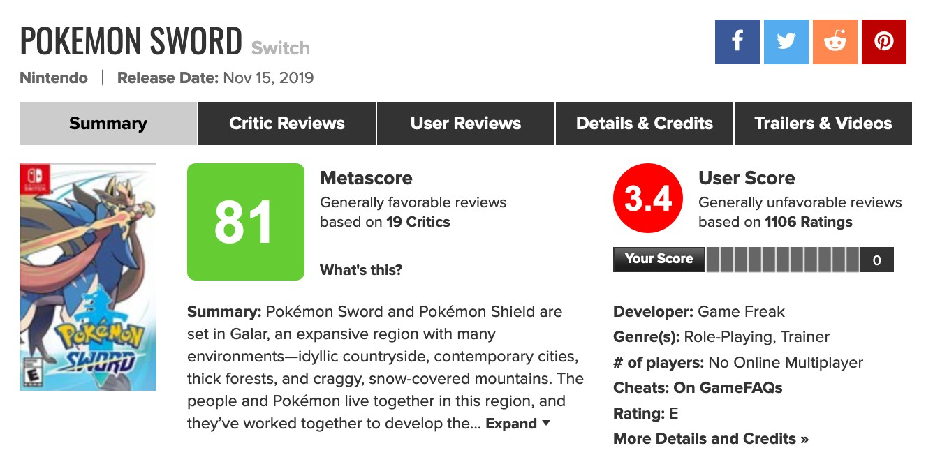 Pokemon Sword And Shield Review Bombed On Metacritic